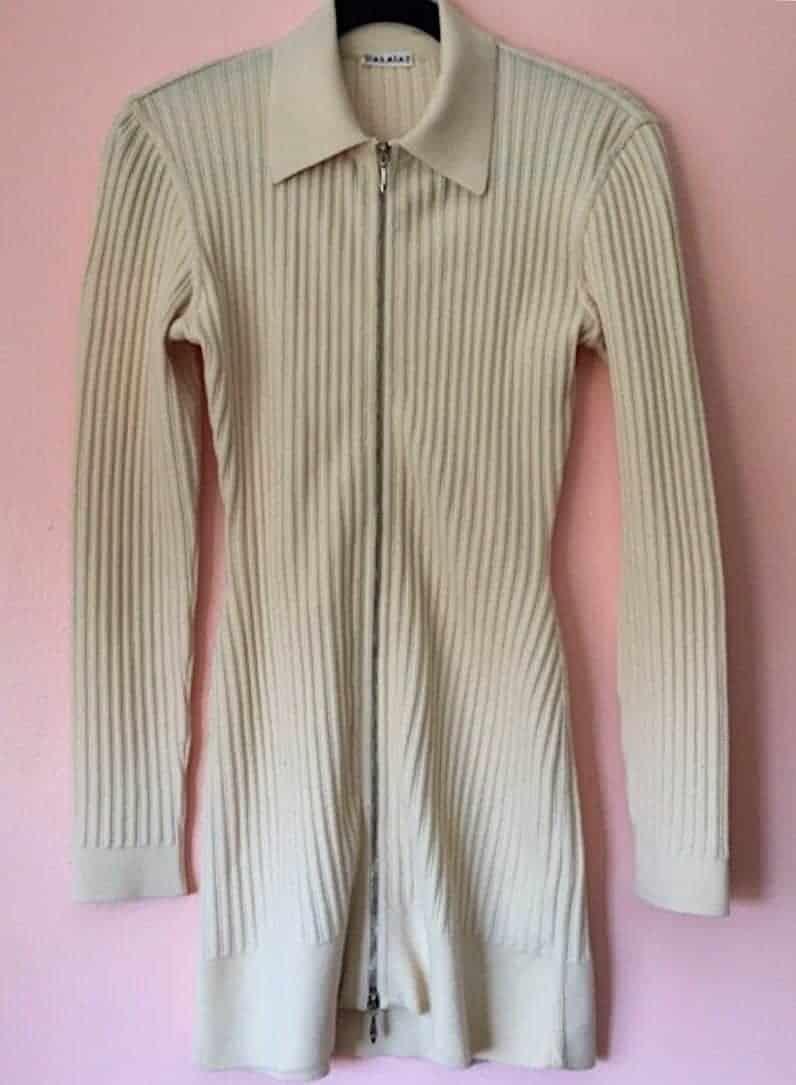 ALAIA RIBBED ZIP DRESS
