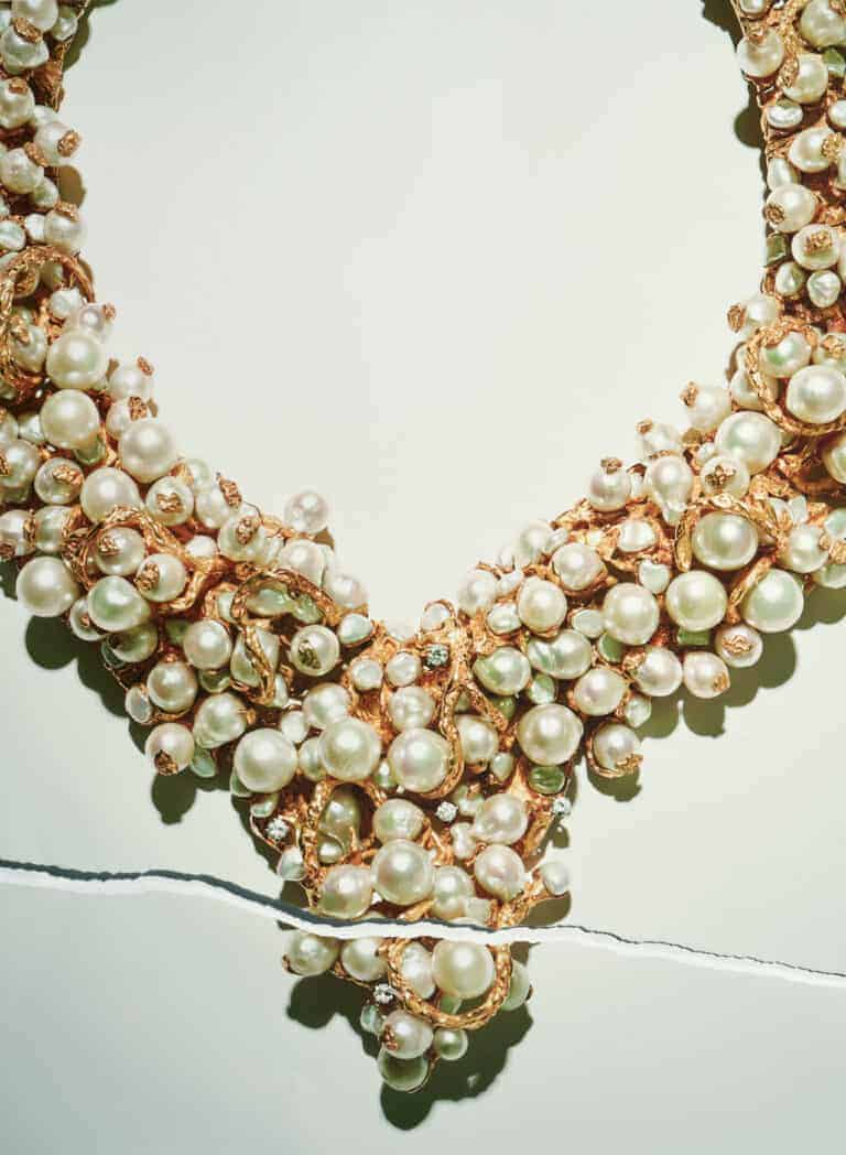 BARBARA-ANTON-UNIQUE-'POTPOURRI-OF-PEARLS'-NECKLACE-18-KARAT-GOLD-AND-PEARLS- 1968- COLLECTION-OF-KIMBERLY-KLOSTERMAN-PHOTOGRAPHY-CARLTON -DAVIS