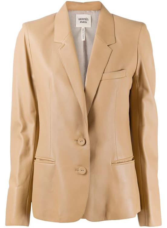 Hermès pre-owned notched lapels leather blazer