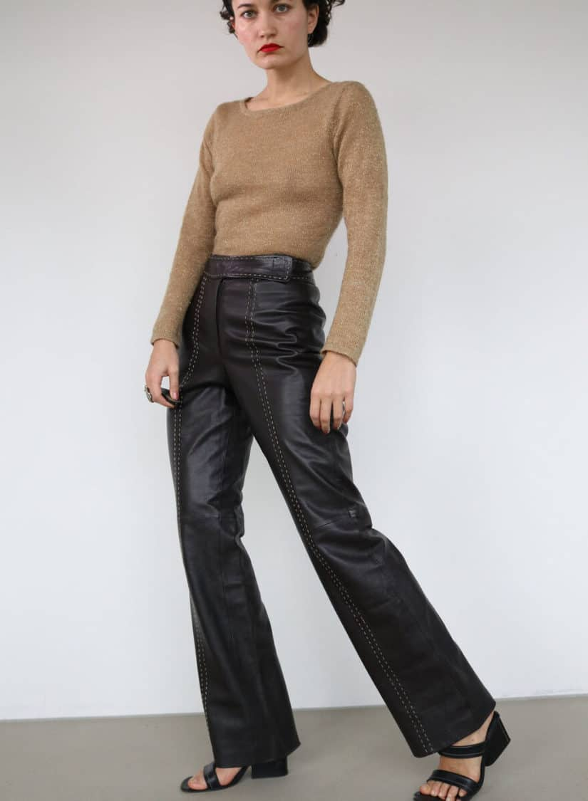 LEATHER HW TROUSER WITH STITCHING