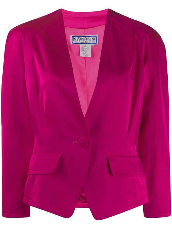 Shop pink Yves Saint Laurent Pre-Owned 1980s lapel-less buttoned jacket