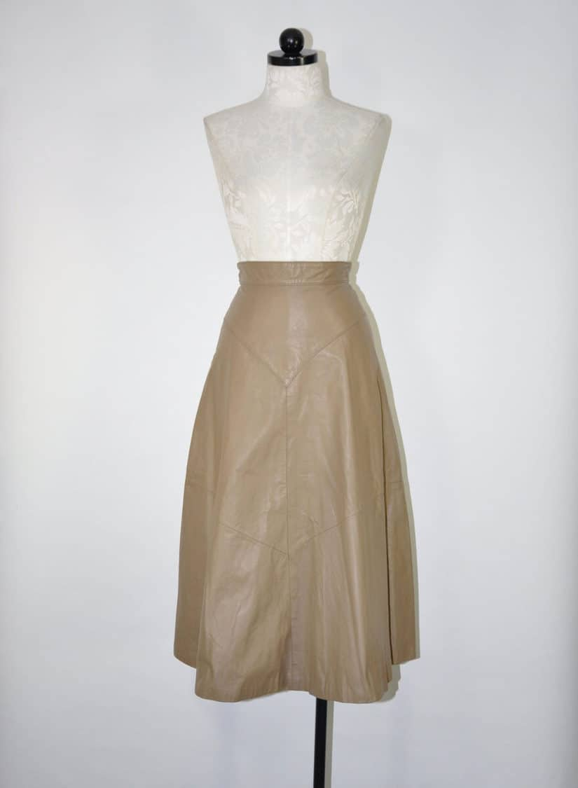 TAUPE LEATHER SKIRT