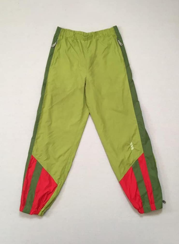 1990's, nylon, athetic pants, in chartreuse and olive green
