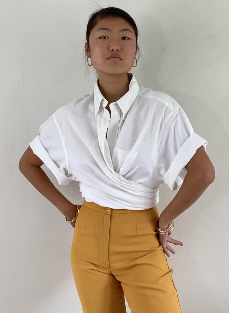 Brooks Brothers white cotton oversized boyfriend short sleeve button down