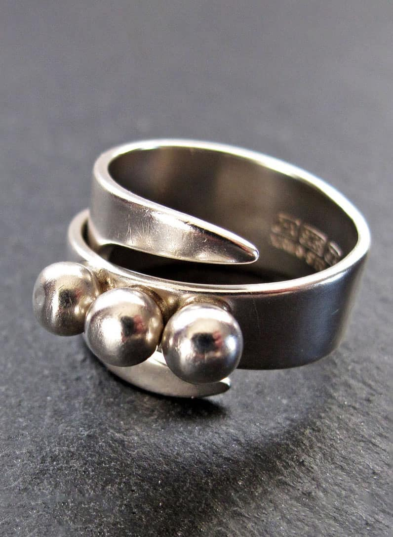 DAVID ANDERSEN Silver Ring - Modernist Silver Wrap Style Ring by David Andersen of Norway
