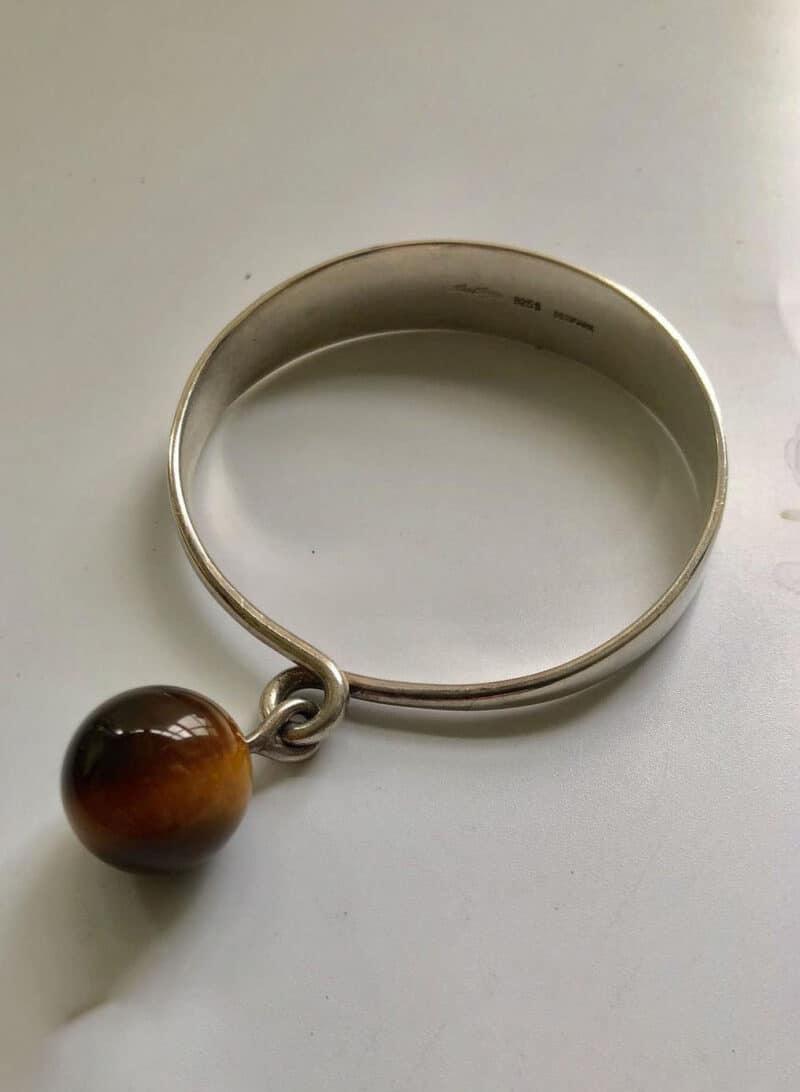 Hans Hansen Denmark Modernist Sculptural Sterling Silver Bangle Bracelet with Tiger's Eye
