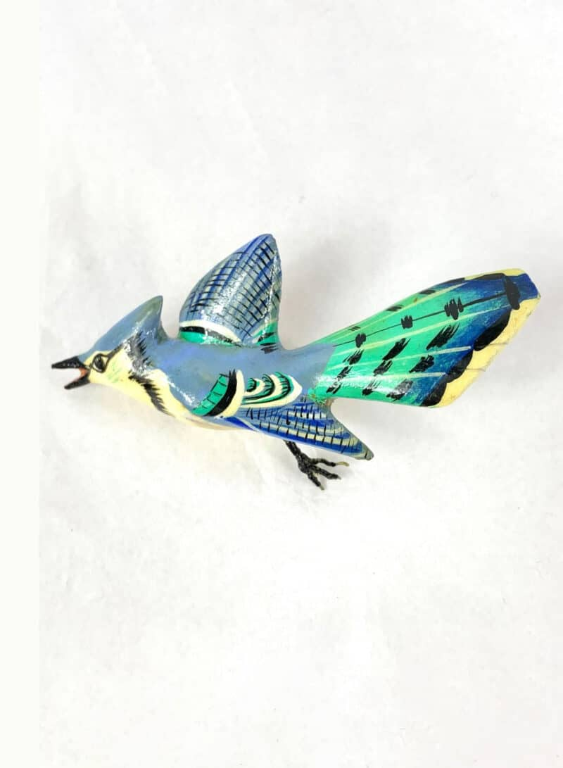 Takahashi Style Internment Camp Carved Blue Jay Brooch