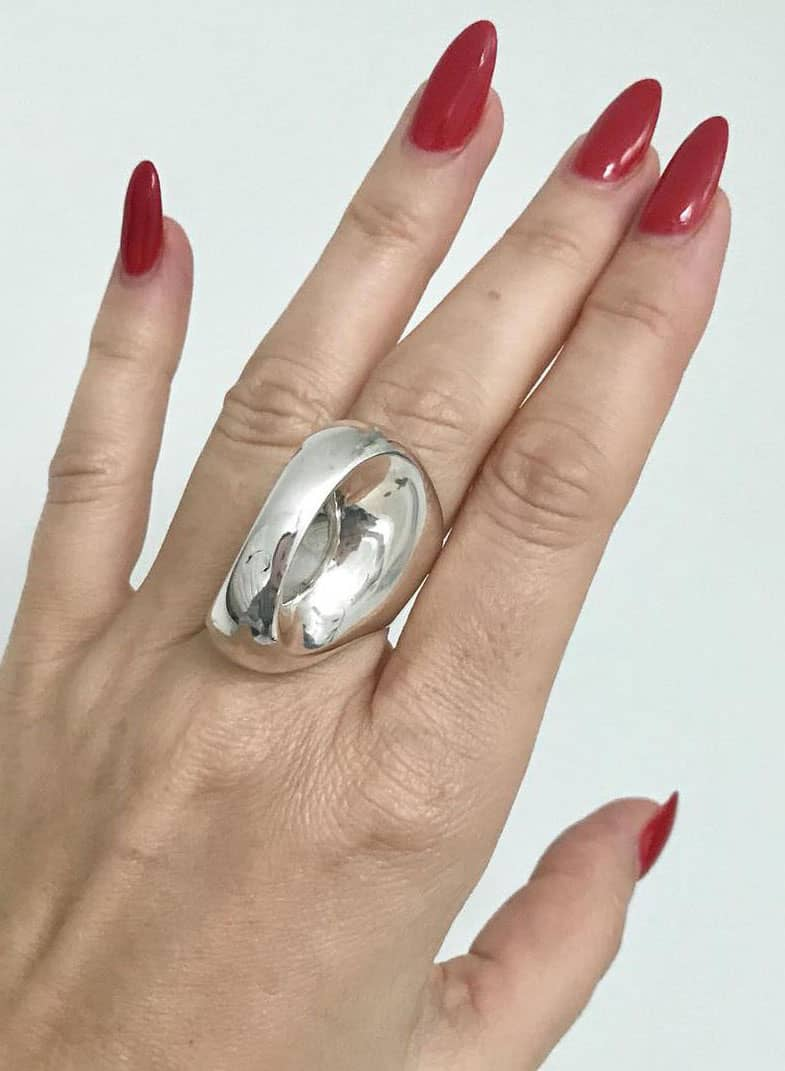 Takashi Wada statement cocktail sterling silver modernist ring