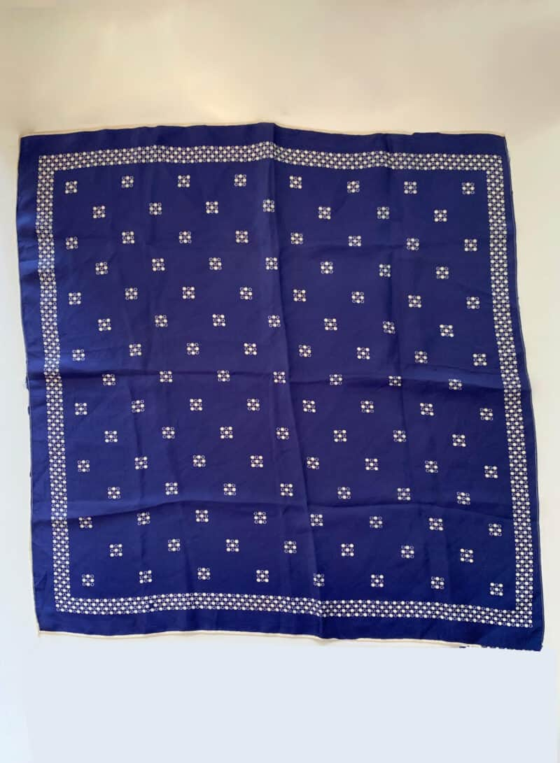 VINTAGE BLUE SILK SCARF WITH WHITE DETAILS
