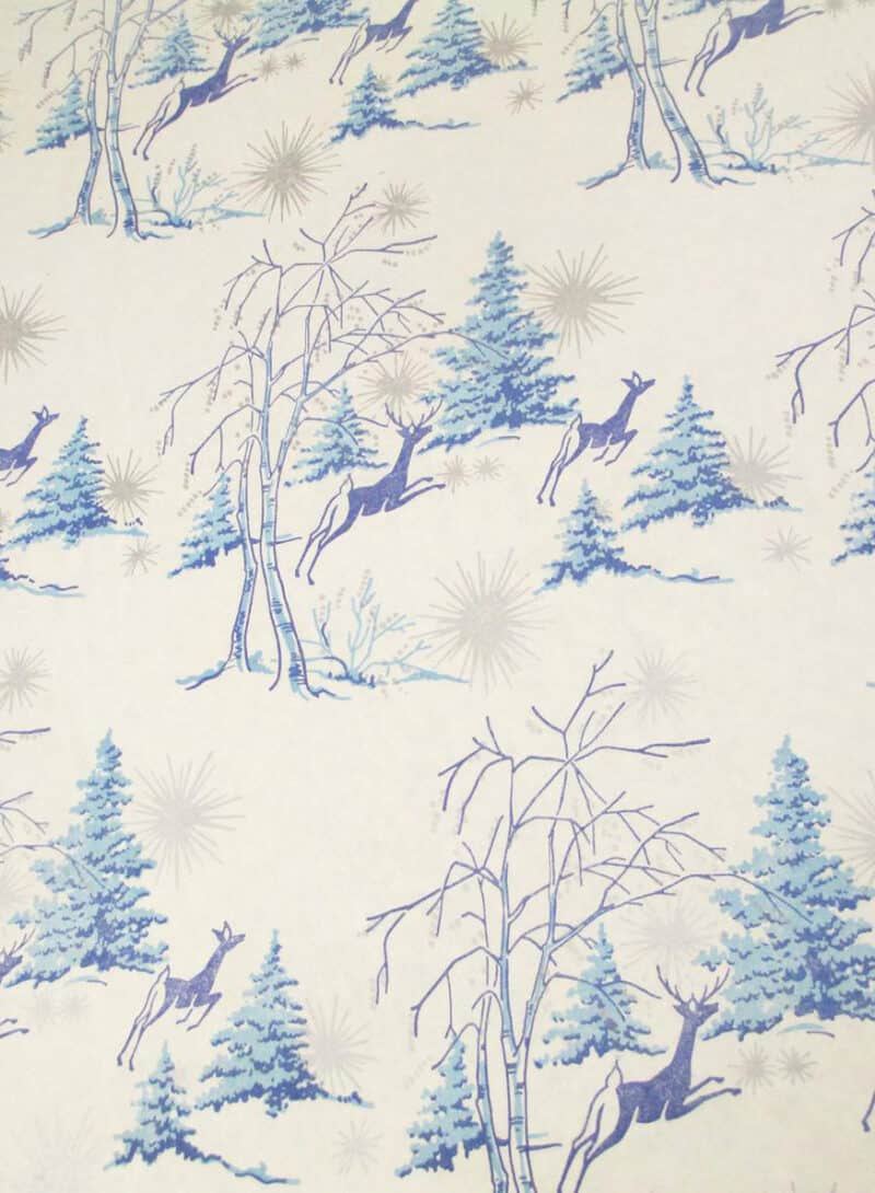 VINTAGE DEER WRAPPING PAPER BLUE CHRISTMAS PINE
