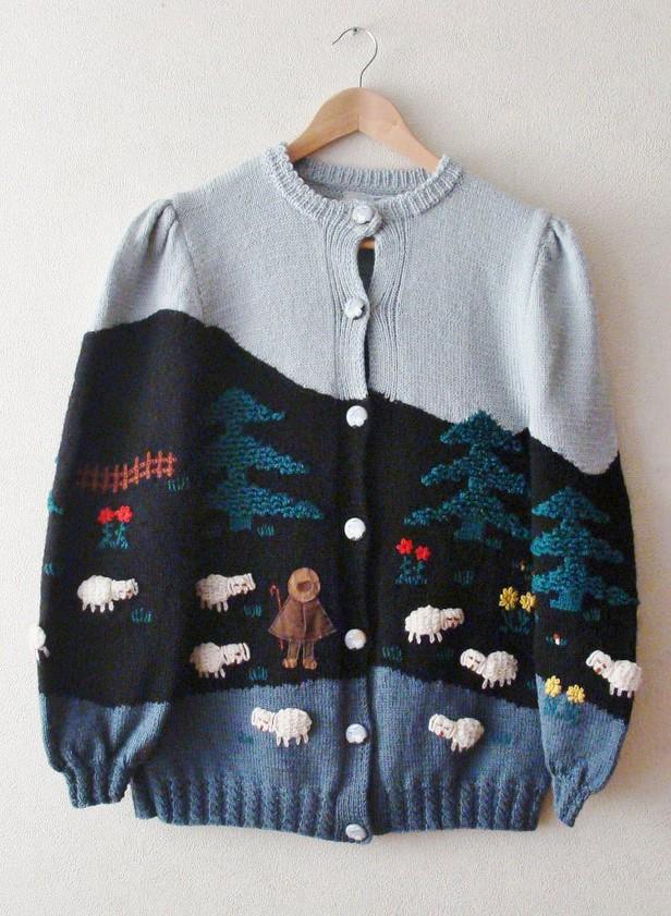 VINTAGE Hand Knitted Austrian Trachten Jacket