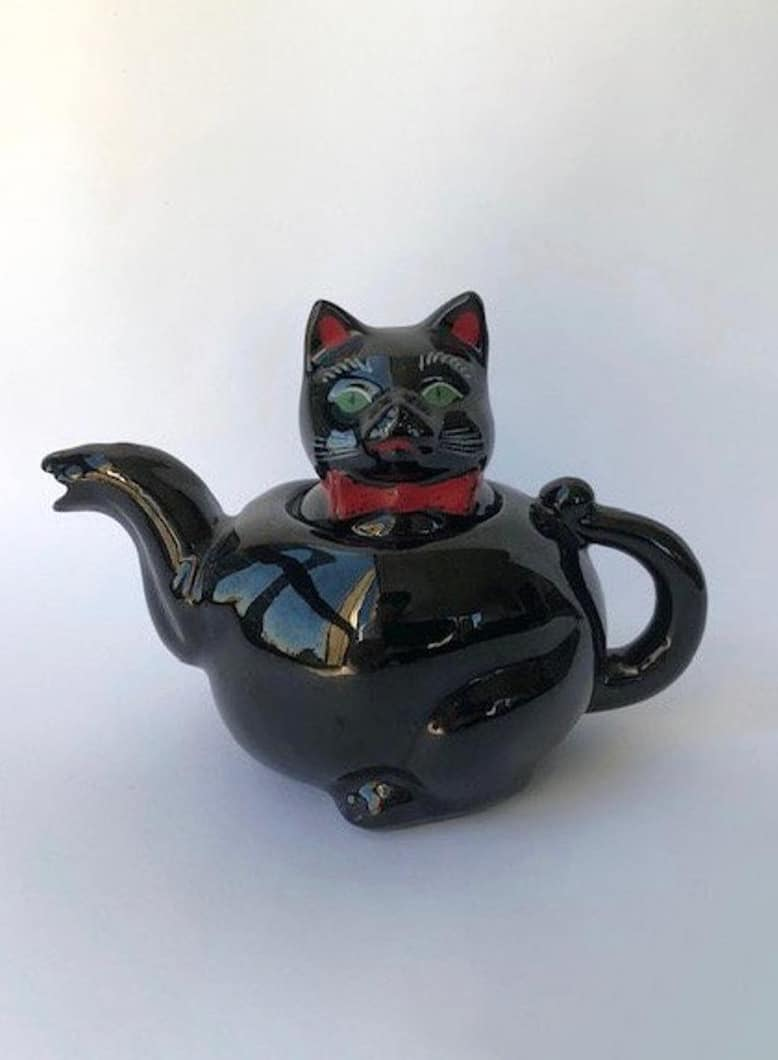 VINTAGE Japanese Pottery Black Cat Teapot