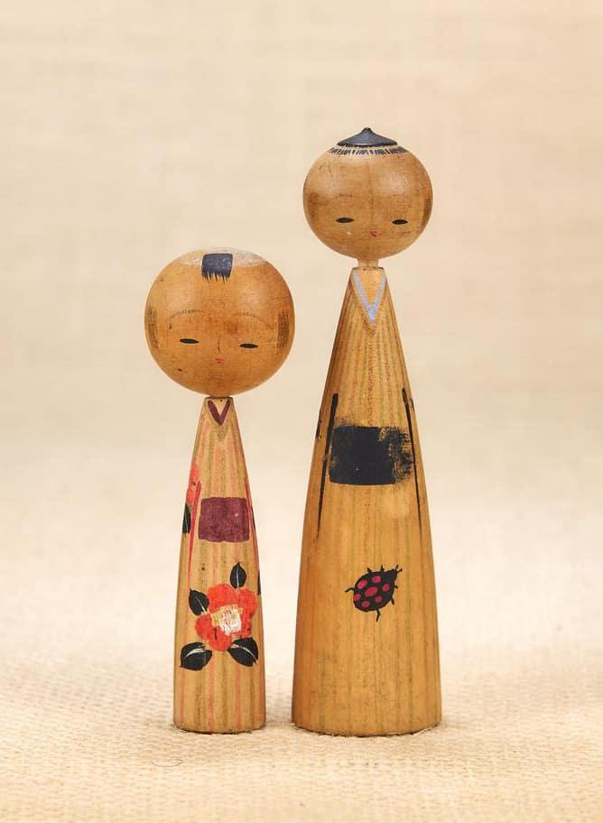 VINTAGE Miniature Kokeshi Dolls Vintage - Japanese