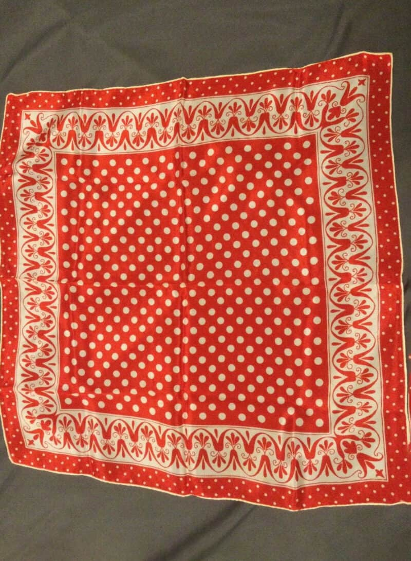 VINTAGE SALLY GEE RED AND WHITE SILK SCARF