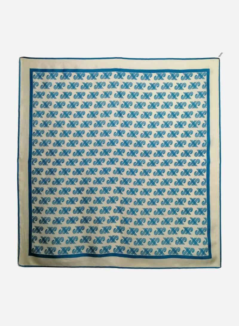 VINTAGE Silk Square Scarf With Geometric Pattern