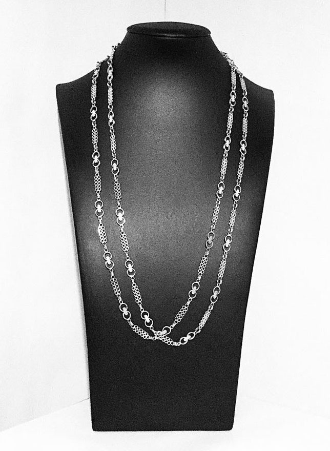 Very Rare Marianne Berg For Uni David-Andersen Sterling Silver Fancy Links Chain Necklace 1970s Norway