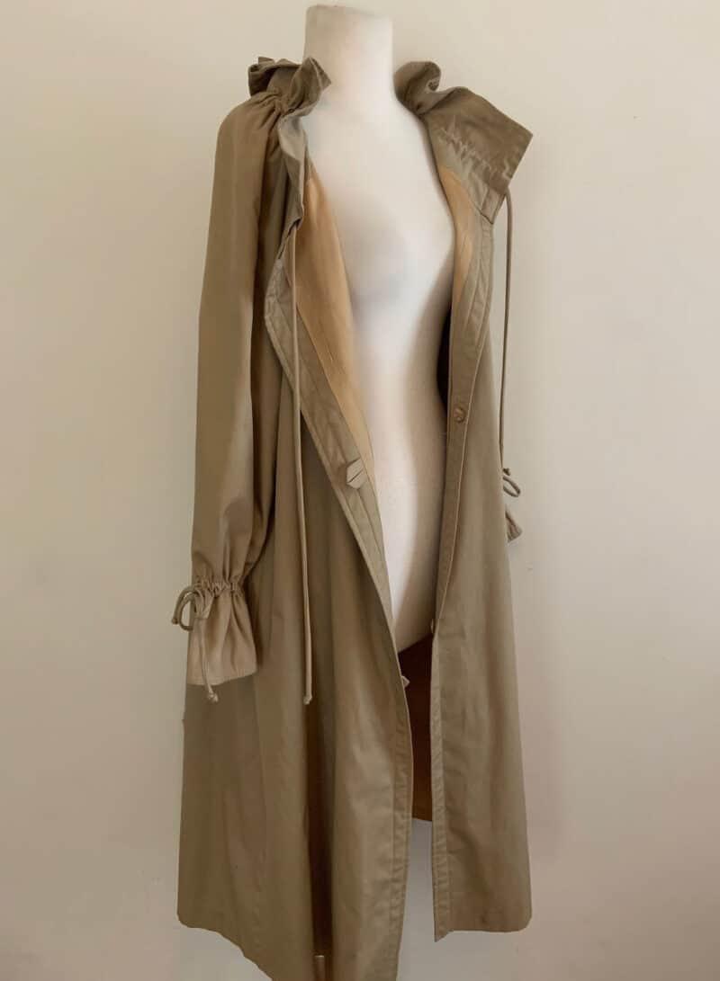 Vintage 1970s Ruffled Camel Trench Coat