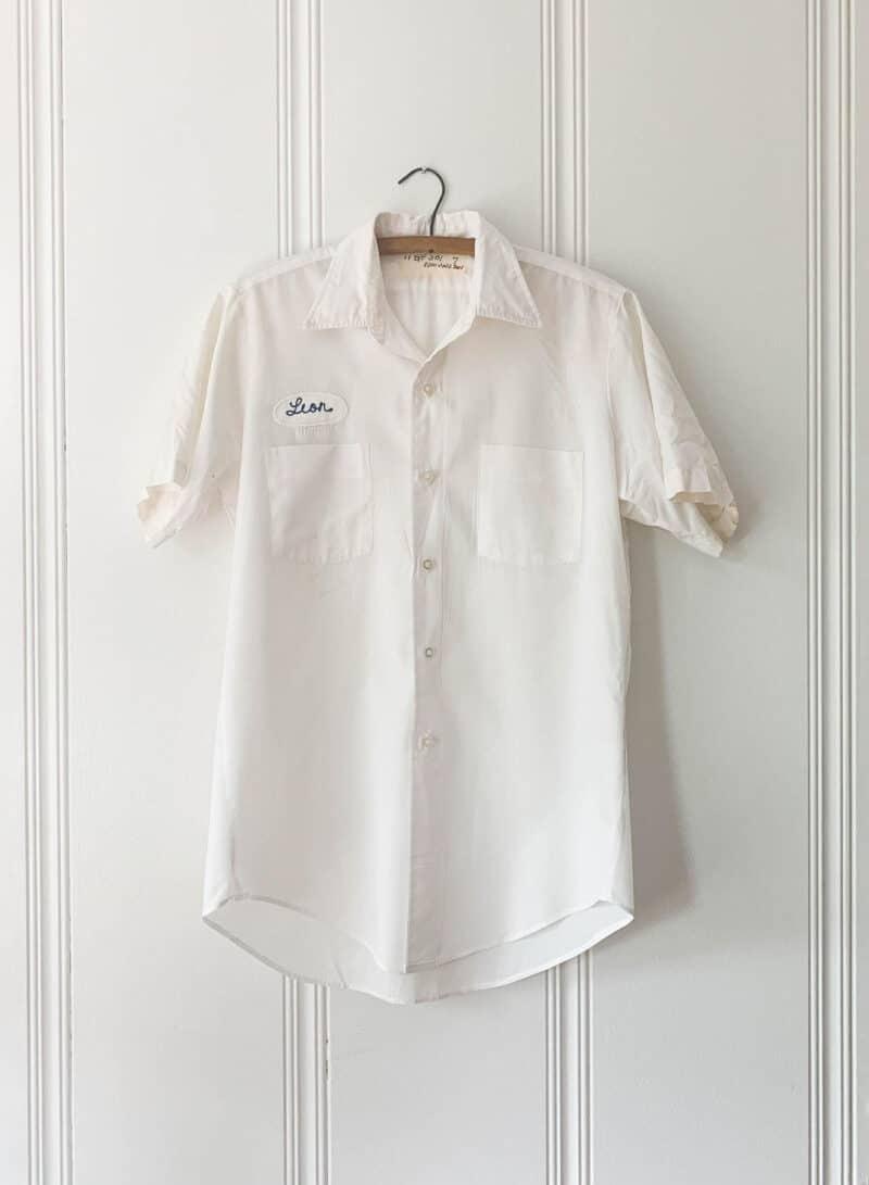 Vintage Leon Mechanics White Button Down Uniform Shirt