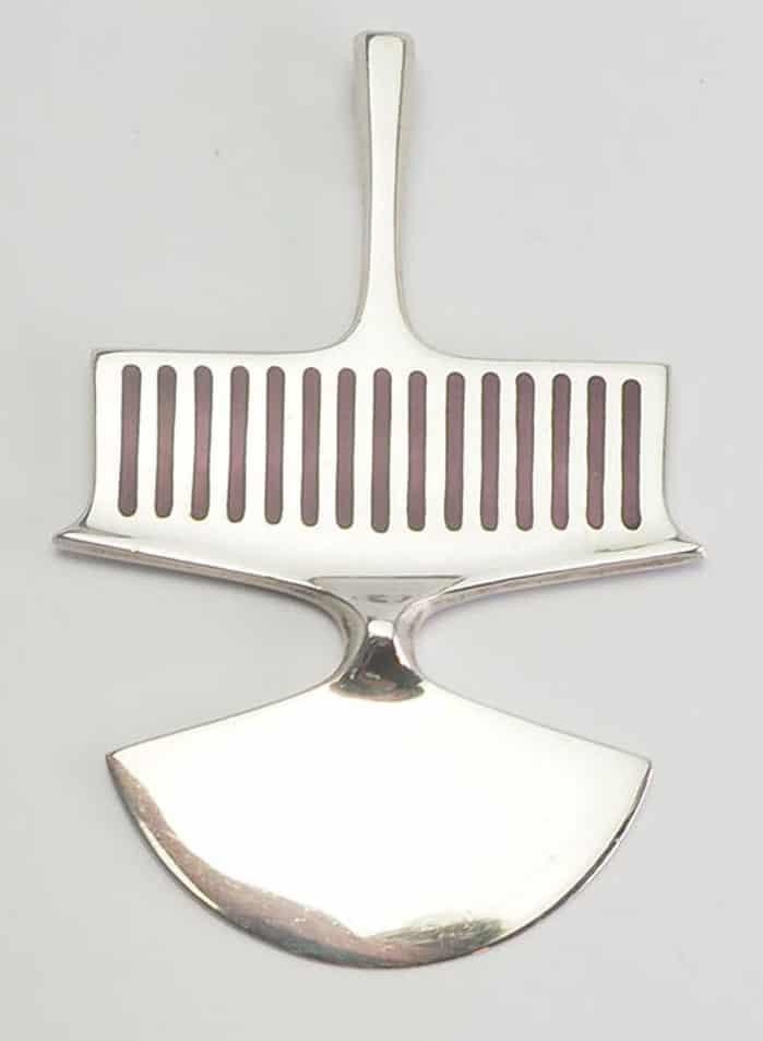Vintage sterling silver purple enamel modernist pendant by David Andersen Norway