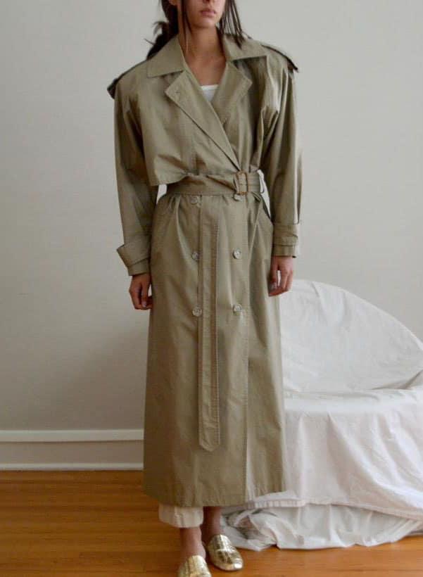 anne klein olive cotton trench coat