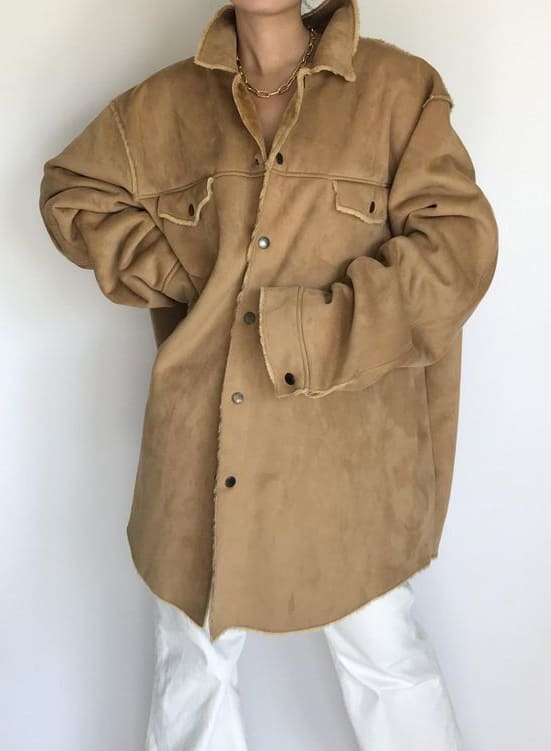 TAN BUTTON UP OVERSIZED