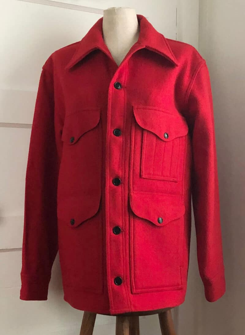 RED BUTTON UP COAT