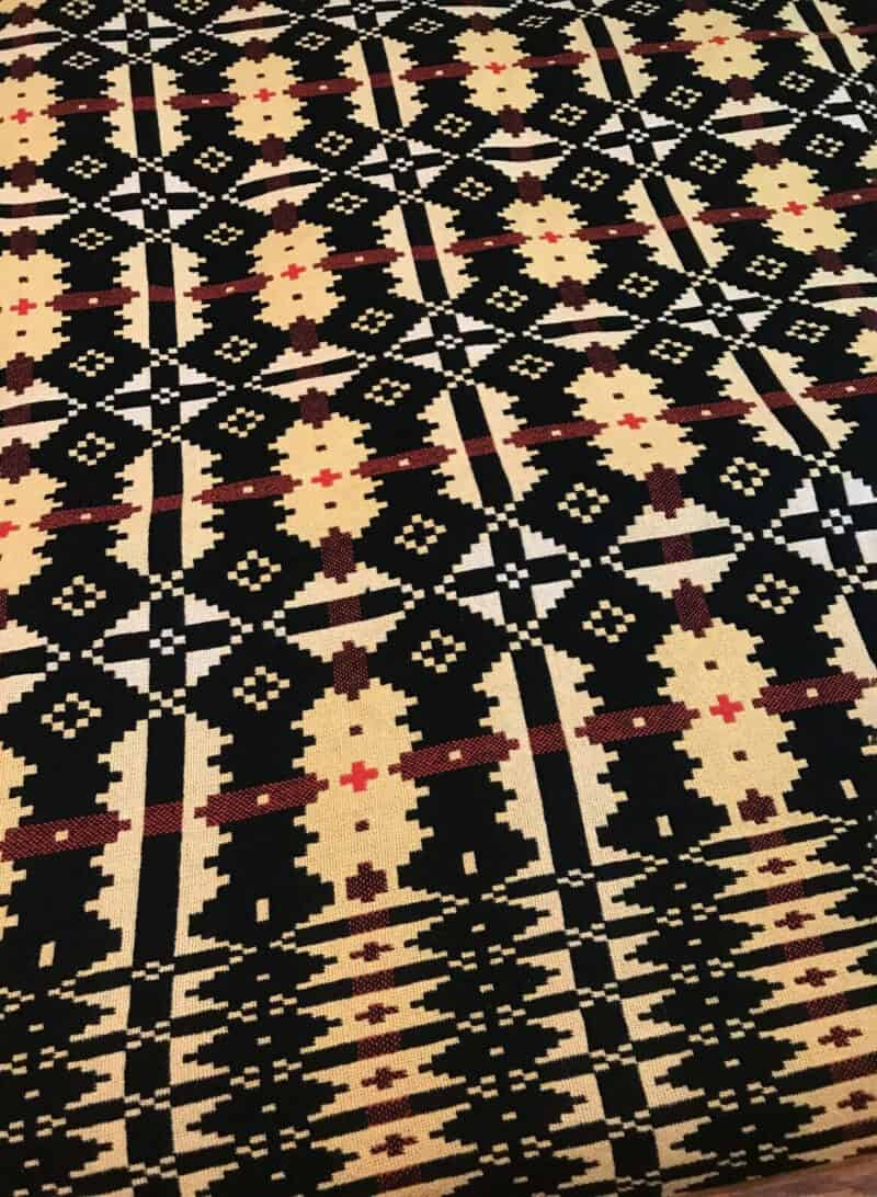 Vintage-Welsh-Tapestry-Blanket-Throw-Geometric-Yellow-Black-Red
