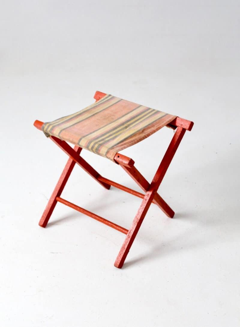 vintage camp stool, striped canvas folding seat