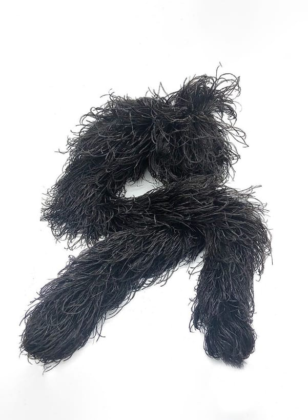 Antique Late Victorian : Edwardian Black Ostrich Feather Boa Mourning Scarf Authentic
