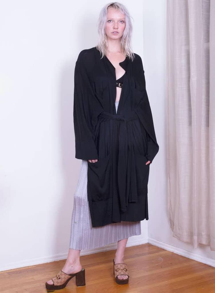 Azzedine Alaïa RARE 1990s Knit Duster with Oversized Sleeves Wrap Tie Sweater with Oversized Pockets Kimono