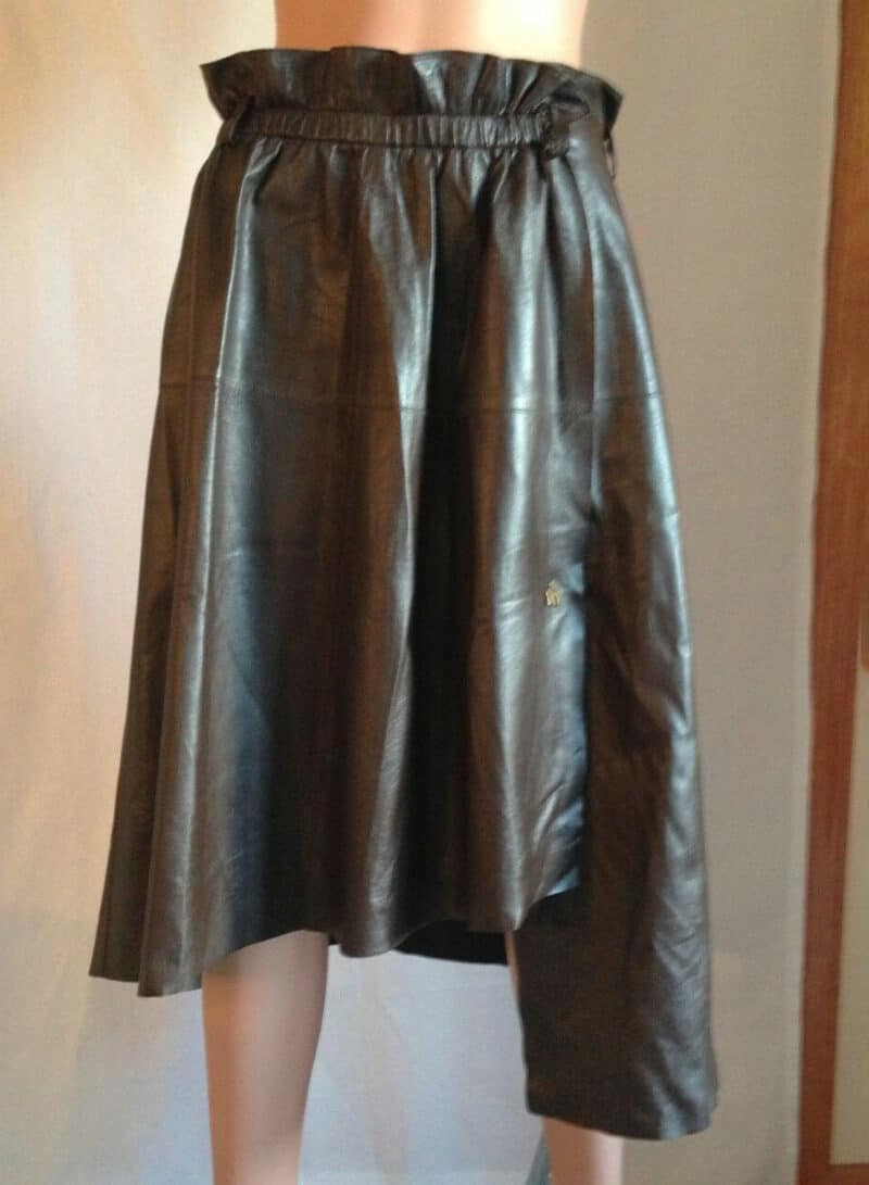 BALLY NEW WOMEN LEATHER BROWN WRAP ASYMMETRICAL SKIRT