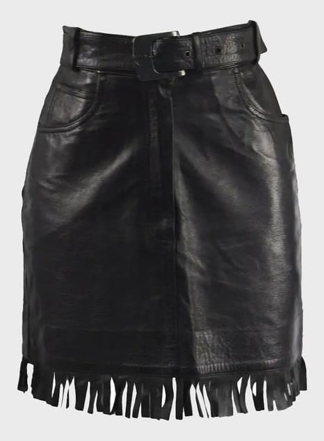 CLAUDE MONTANA Black Fringe 90s Leather Skirt