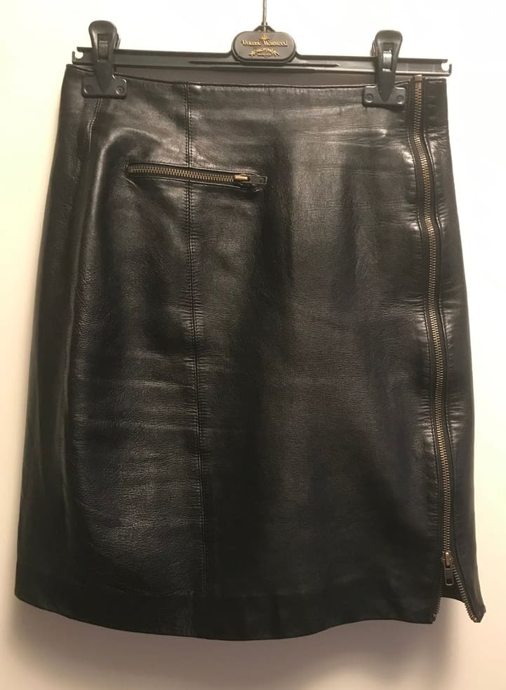 CLAUDE MONTANA (State of Montana) genuine pure leather black skirt completely openeable