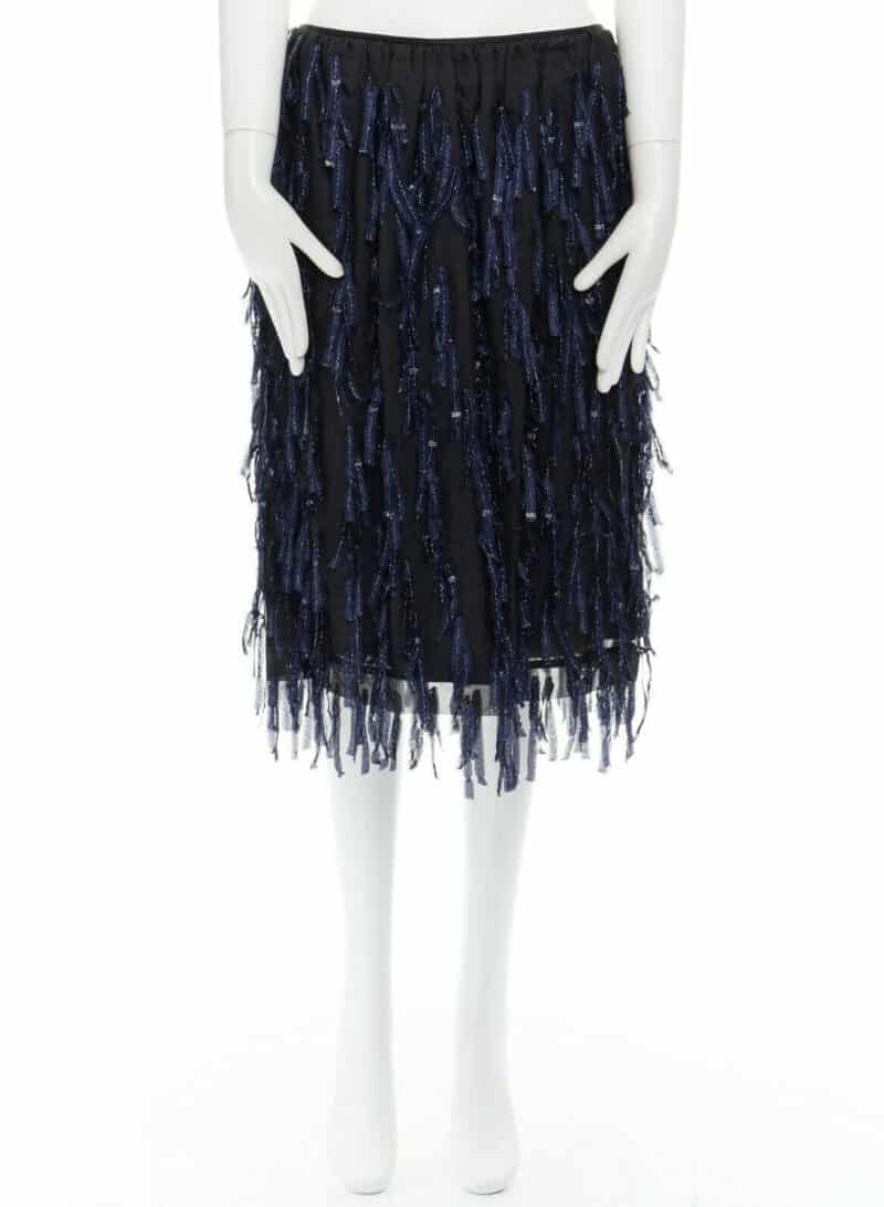 DRIES VAN NOTEN SS15 metallic blue fringe tassel organza skirt