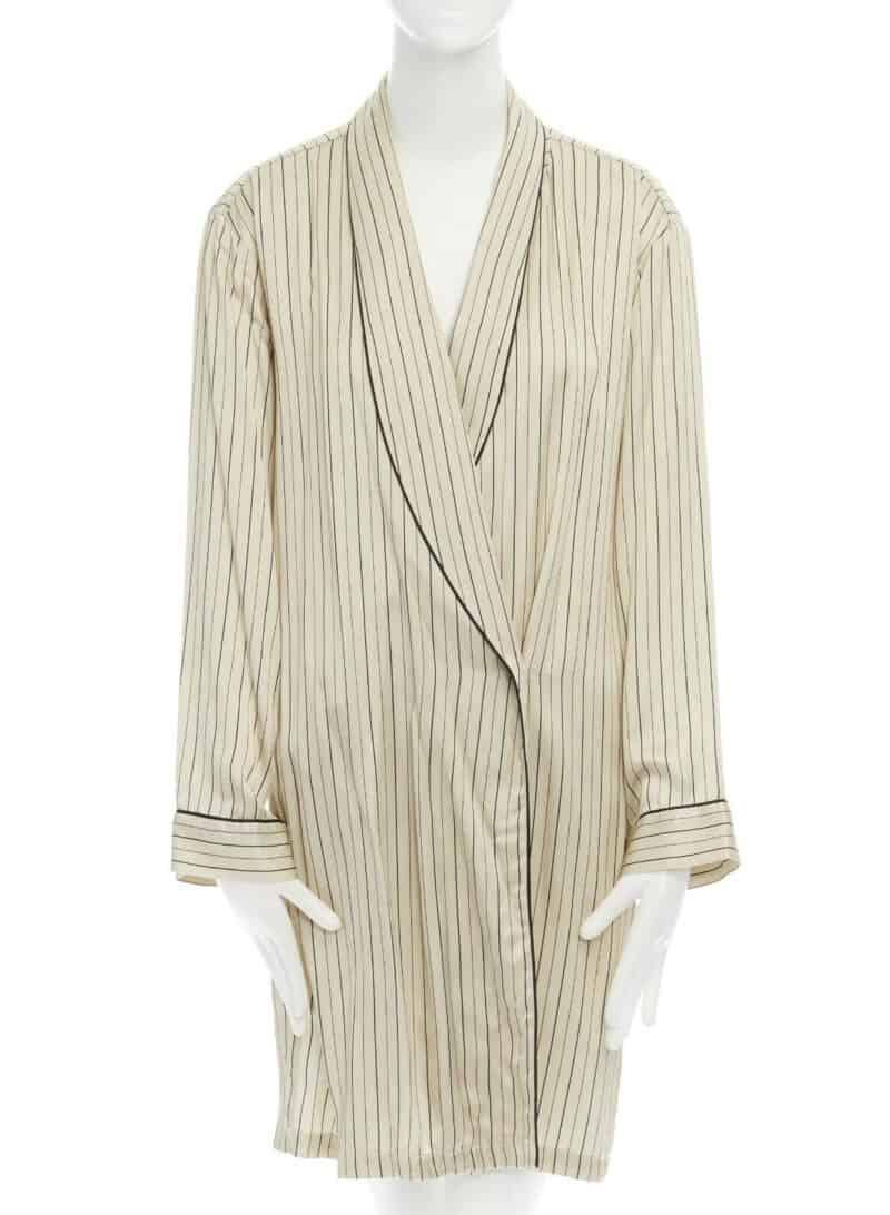 DRIES VAN NOTEN beige striped shawl collar pyjama kimono