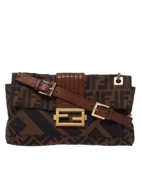 FENDI BROWN ZUCCA CANVAS AND LEATHER BAGUETTE CHAIN SHOULDER BAG