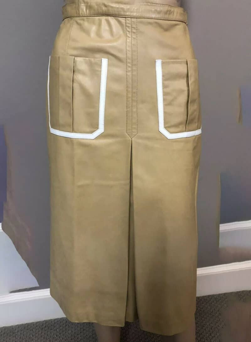 GUCCI CAMEL LEATHER SKIRT WHITE TRIM