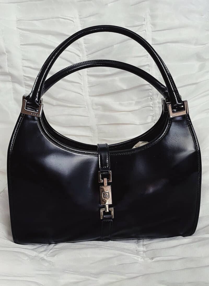 GUCCI JACKIE O BLACK Patent Leather Bag