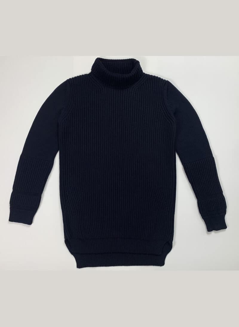 JIL SANDER NAVY KNITTED TURTLE NECK