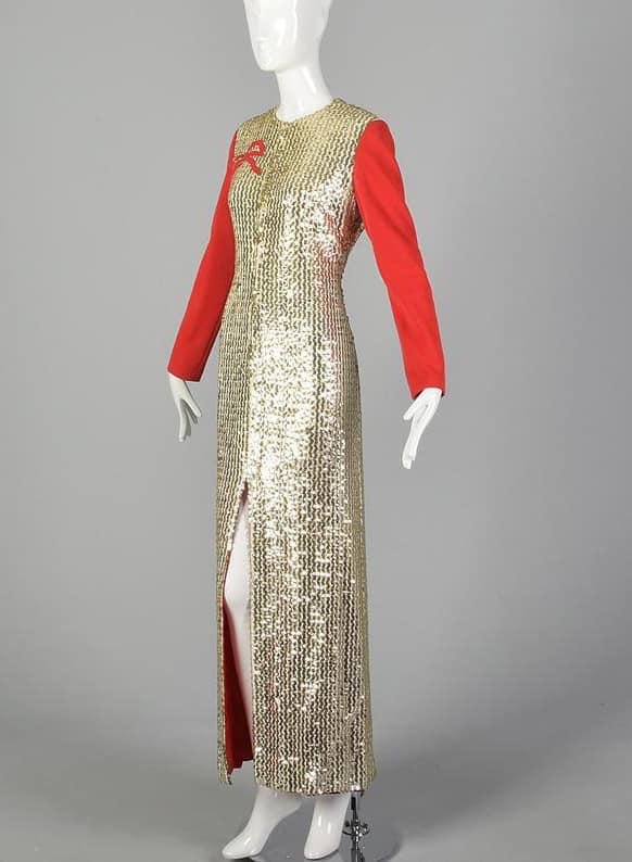 OSCAR DE LA RENTA GOLD HOLIDAY DRESS