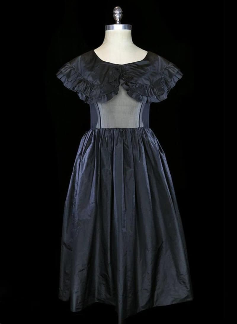 OSCAR DE LA RENTA SHEER BLACK RUFFLED DRESS