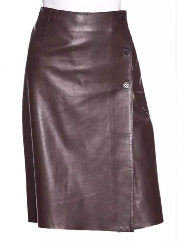 PRADA BROWN LEATHER SKIRT