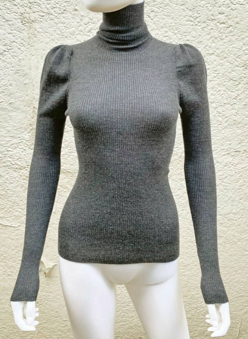PRADA GREY PUFFED SLEEVES TURTLENECK RIBBED