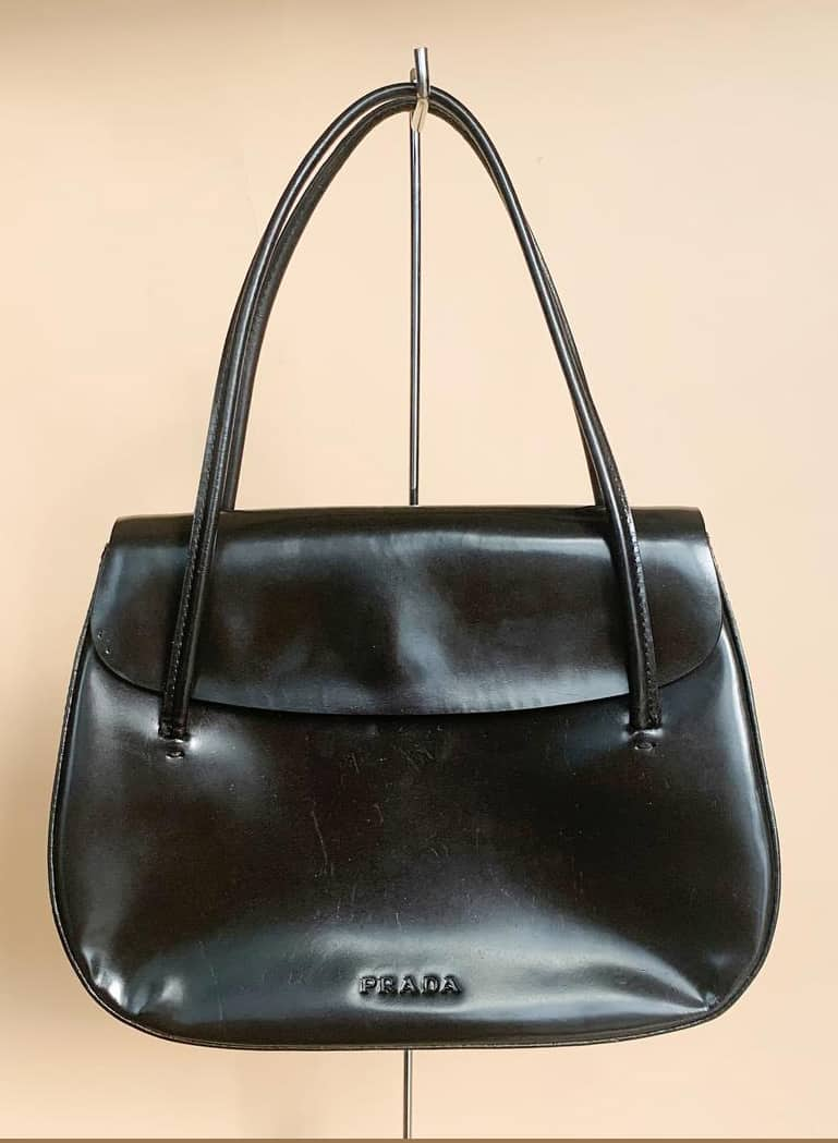 PRADA LEATHER MINI TOTE BLACK
