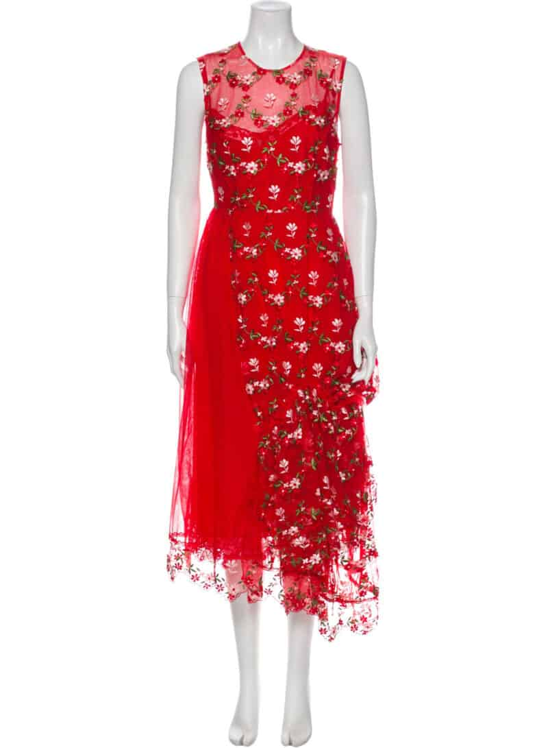 SIMONE ROCHA Floral Print Long Dress
