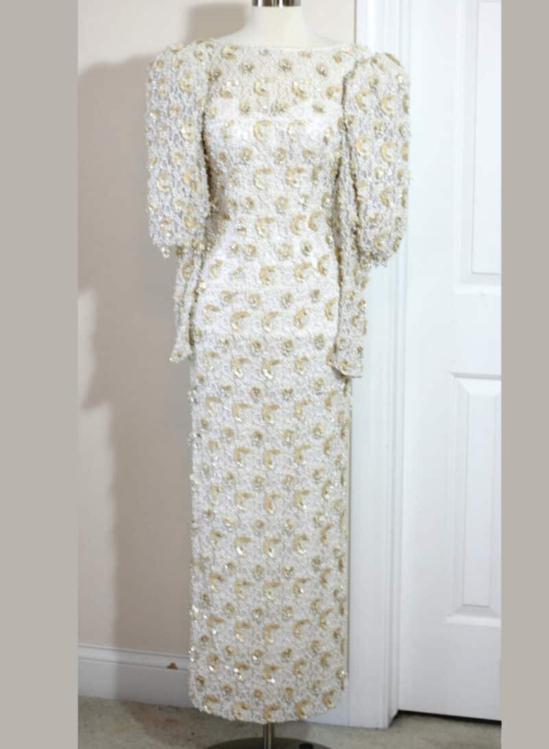 VINTAGE BEADED SEQUIN LACE DRESS