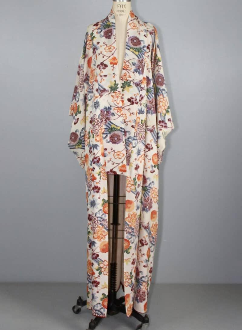 VINTAGE KIMONO JAPANESE FLORAL MAXI