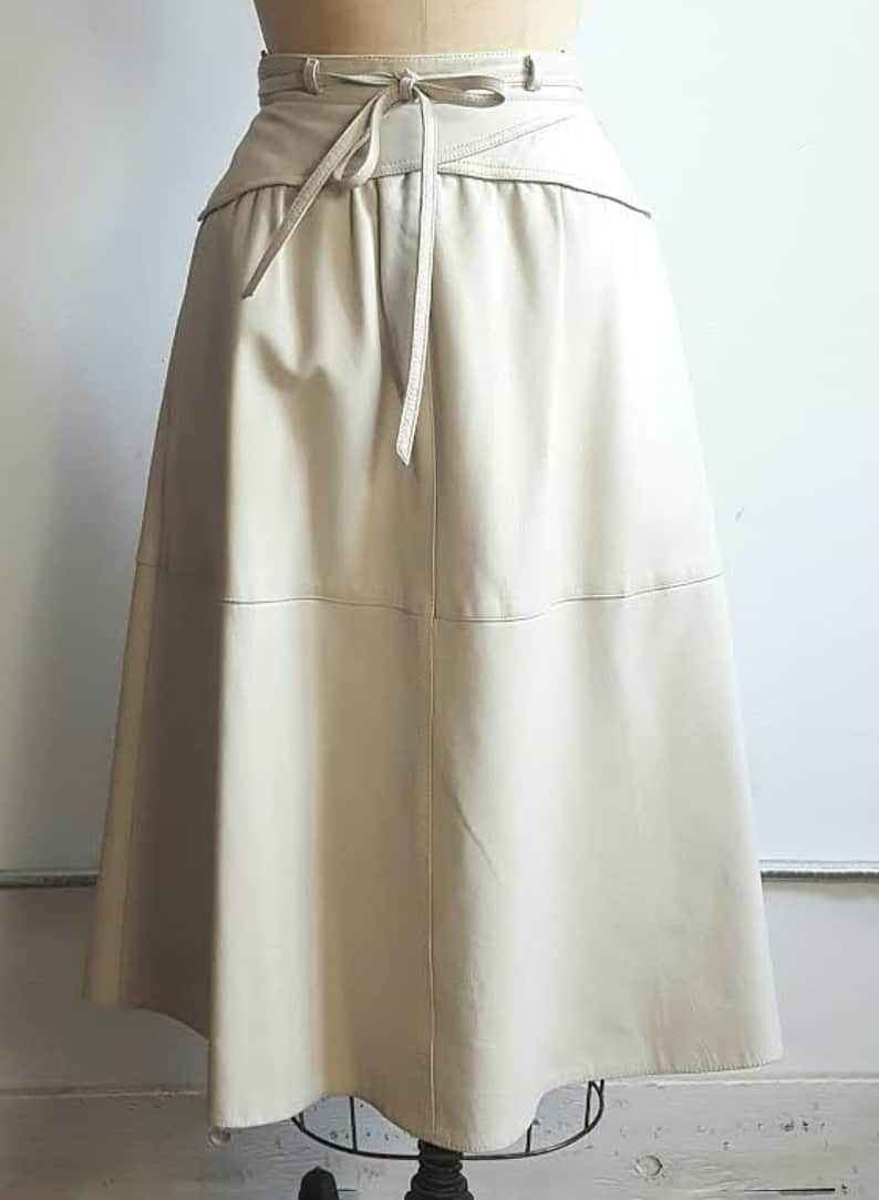 VINTAGE LEATHER MIDI SKIRT HIGH WAISTED