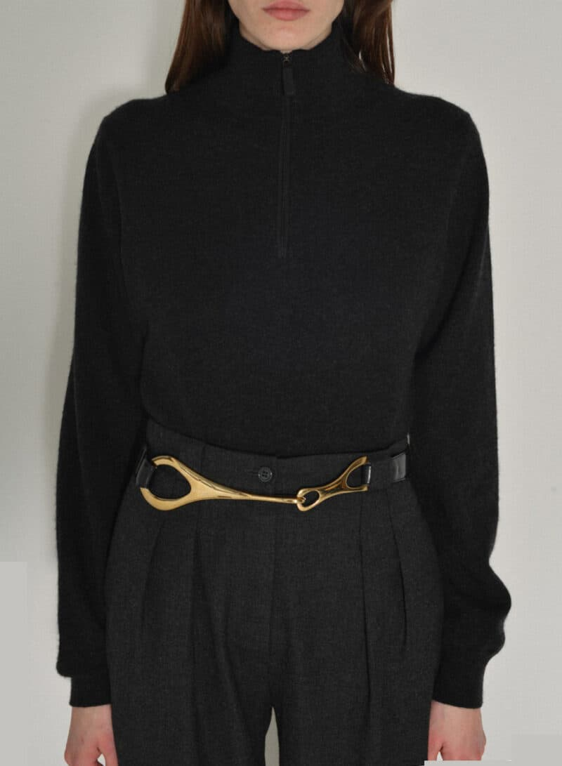 VINTAGE SAKS FIFTH AVENUE CASHMERE HALF ZIP SWEATER - BLACK