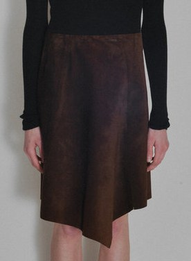 VINTAGE UNITED COLORS OF BENETTON SUEDE ASYMMETRICAL SKIRT - CHOCOLATE